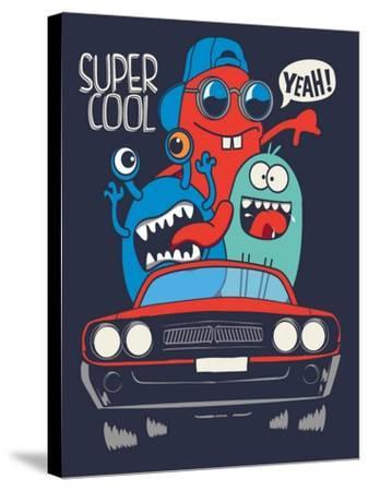 Cute Monsters in Car Vector Design- braingraph-Stretched Canvas Print