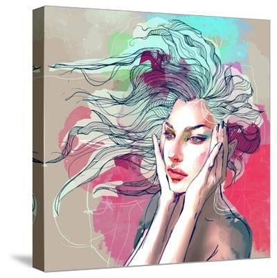 Watercolor Fashion Illustration with a Beautiful Lady with Decorative Hair-A Frants-Stretched Canvas Print