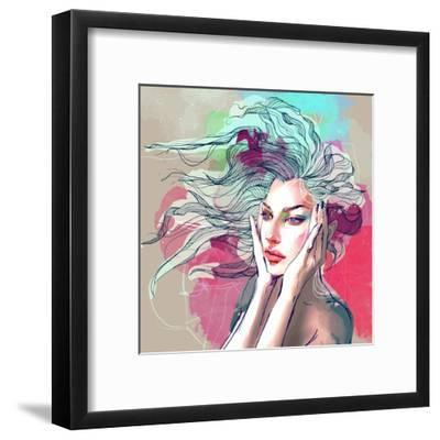 Watercolor Fashion Illustration with a Beautiful Lady with Decorative Hair-A Frants-Framed Art Print