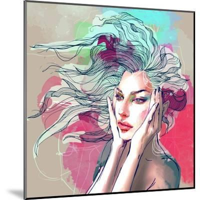 Watercolor Fashion Illustration with a Beautiful Lady with Decorative Hair-A Frants-Mounted Art Print