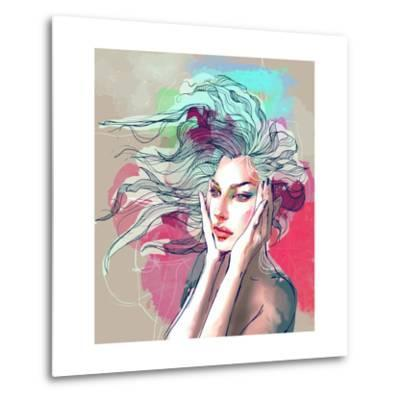 Watercolor Fashion Illustration with a Beautiful Lady with Decorative Hair-A Frants-Metal Print