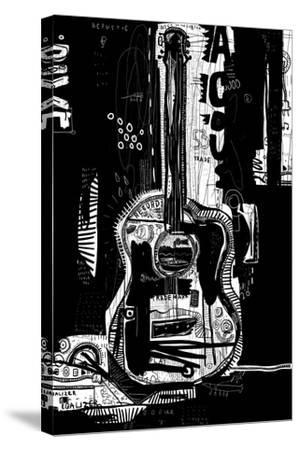 The Symbolic Image of an Acoustic Guitar on a Black Background-Dmitriip-Stretched Canvas Print