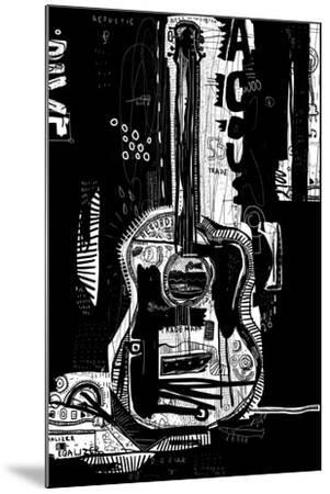 The Symbolic Image of an Acoustic Guitar on a Black Background-Dmitriip-Mounted Art Print