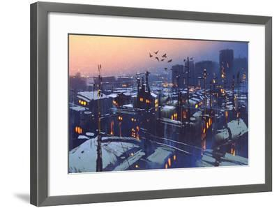 Painting of City Snowy Winter Scene,Rooftops Covered with Snow at Sunset-Tithi Luadthong-Framed Art Print