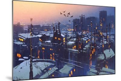 Painting of City Snowy Winter Scene,Rooftops Covered with Snow at Sunset-Tithi Luadthong-Mounted Art Print