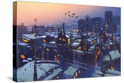 Painting of City Snowy Winter Scene,Rooftops Covered with Snow at Sunset-Tithi Luadthong-Stretched Canvas Print