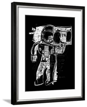 The Symbolic Image of the Astronaut Who Listens to Music on a Tape Recorder-Dmitriip-Framed Art Print