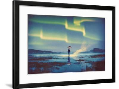 Northern Lights Aurora Borealis over Man Holding Glowing Umbrella,Illustration Painting-Tithi Luadthong-Framed Art Print