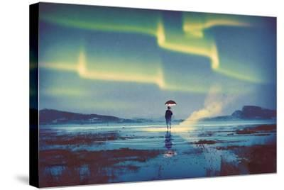 Northern Lights Aurora Borealis over Man Holding Glowing Umbrella,Illustration Painting-Tithi Luadthong-Stretched Canvas Print
