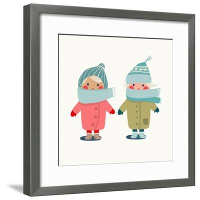 Children in Winter Cloth. Winter Kids Outfit Childish Illustration. Raster Variant.-Popmarleo-Framed Premium Giclee Print