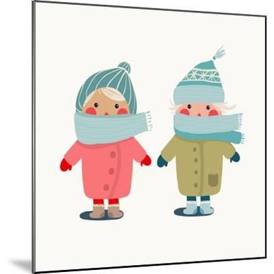 Children in Winter Cloth. Winter Kids Outfit Childish Illustration. Raster Variant.-Popmarleo-Mounted Premium Giclee Print