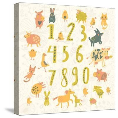Learn to Count. All Numbers and Funny Cartoon Animals: Cat, Dog, Cow, Horse, Rabbit and Others in C-smilewithjul-Stretched Canvas Print