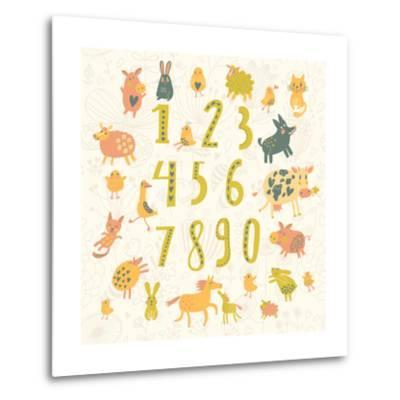 Learn to Count. All Numbers and Funny Cartoon Animals: Cat, Dog, Cow, Horse, Rabbit and Others in C-smilewithjul-Metal Print