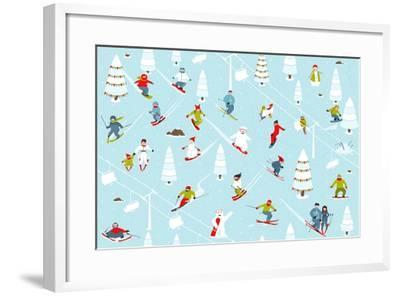 Cartoon Mountain Ski Resort Seamless Pattern. Mountain Skiing Background Winter Resort with People-Popmarleo-Framed Art Print