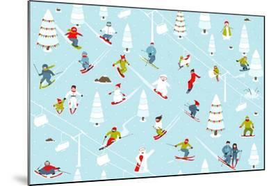 Cartoon Mountain Ski Resort Seamless Pattern. Mountain Skiing Background Winter Resort with People-Popmarleo-Mounted Art Print