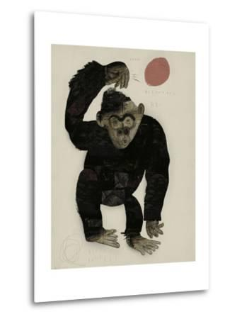 Symbolic Image of a Monkey that Throws a Basketball Ball-Dmitriip-Metal Print
