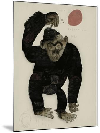 Symbolic Image of a Monkey that Throws a Basketball Ball-Dmitriip-Mounted Art Print