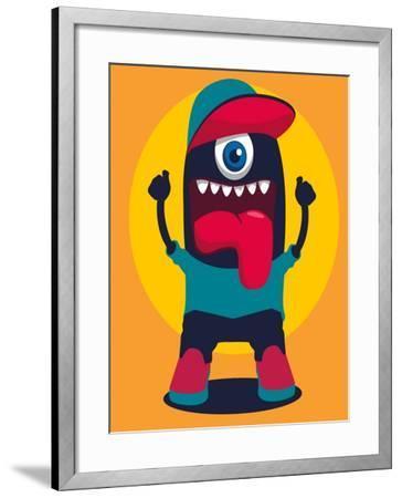 Happy Monster- braingraph-Framed Art Print