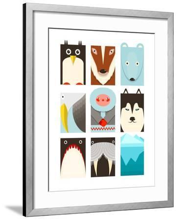 Flat Arctic Symbols Set. North Pole Animals Collection. Vector Layered Eps8 Illustration.-Popmarleo-Framed Art Print