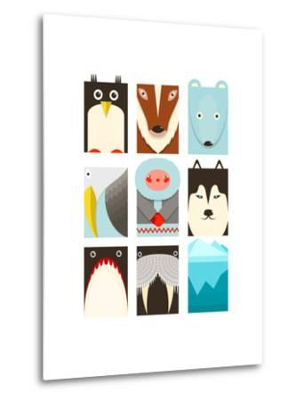 Flat Arctic Symbols Set. North Pole Animals Collection. Vector Layered Eps8 Illustration.-Popmarleo-Metal Print