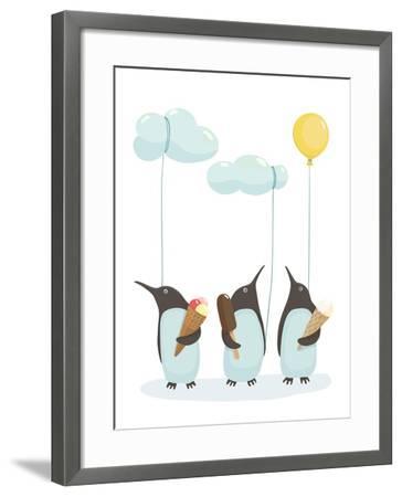 Penguins with Ice Cream. Illustration of Penguins Birds with Ice Cream. Vector Eps8-Popmarleo-Framed Art Print