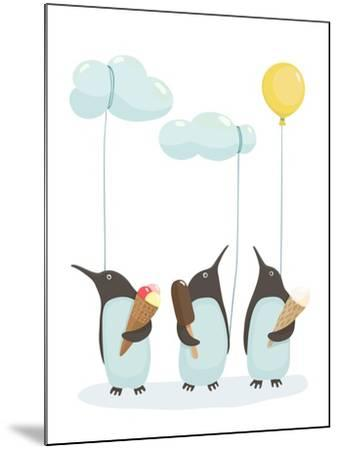 Penguins with Ice Cream. Illustration of Penguins Birds with Ice Cream. Vector Eps8-Popmarleo-Mounted Art Print