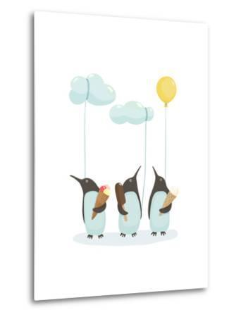 Penguins with Ice Cream. Illustration of Penguins Birds with Ice Cream. Vector Eps8-Popmarleo-Metal Print