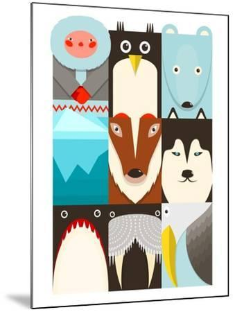 Flat Arctic Symbols Set. North Pole Animals Collection. Vector Layered Eps8 Illustration.-Popmarleo-Mounted Art Print