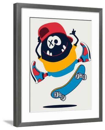 Skater Monster Vector Design- braingraph-Framed Art Print