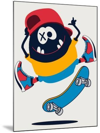 Skater Monster Vector Design- braingraph-Mounted Art Print