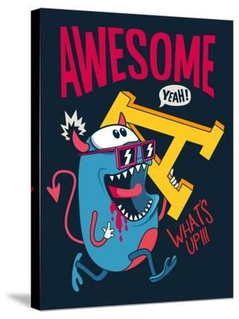 Cool Monster Vector Character Design- braingraph-Stretched Canvas Print