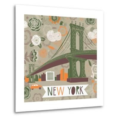 New York Print Design-Lavandaart-Metal Print