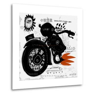 Image of motorcycle, which is made in the style of graffiti-Dmitriip-Metal Print