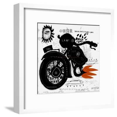 Image of motorcycle, which is made in the style of graffiti-Dmitriip-Framed Art Print