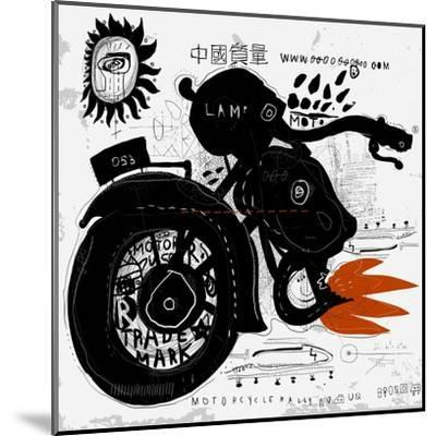 Image of motorcycle, which is made in the style of graffiti-Dmitriip-Mounted Art Print