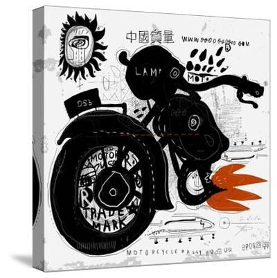 Image of motorcycle, which is made in the style of graffiti-Dmitriip-Stretched Canvas Print