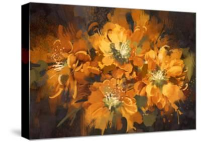 Abstract Flower Digital Painting,Illustration-Tithi Luadthong-Stretched Canvas Print