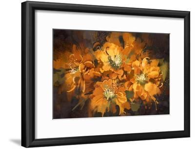 Abstract Flower Digital Painting,Illustration-Tithi Luadthong-Framed Art Print