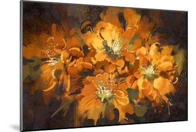 Abstract Flower Digital Painting,Illustration-Tithi Luadthong-Mounted Art Print