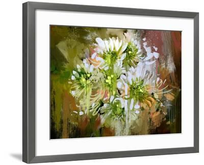 White Chrysanthemum Flowers,Abstract Digital Painting-Tithi Luadthong-Framed Art Print