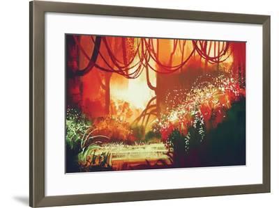 Digital Painting of Fantasy Autumn Forest,Illustration-Tithi Luadthong-Framed Art Print
