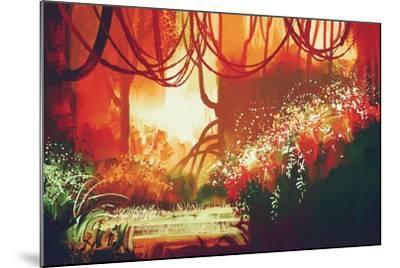 Digital Painting of Fantasy Autumn Forest,Illustration-Tithi Luadthong-Mounted Art Print