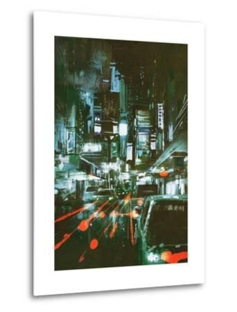 Painting of Car Taillights on a City Street at Night,Illustration-Tithi Luadthong-Metal Print