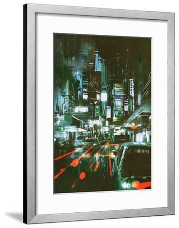 Painting of Car Taillights on a City Street at Night,Illustration-Tithi Luadthong-Framed Art Print