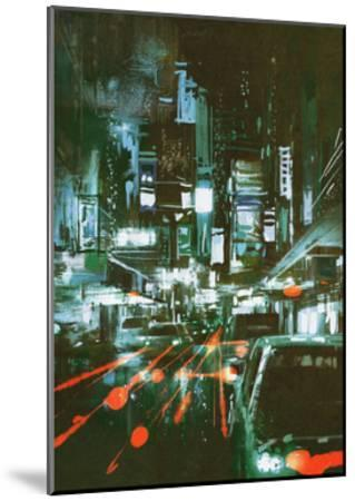 Painting of Car Taillights on a City Street at Night,Illustration-Tithi Luadthong-Mounted Art Print