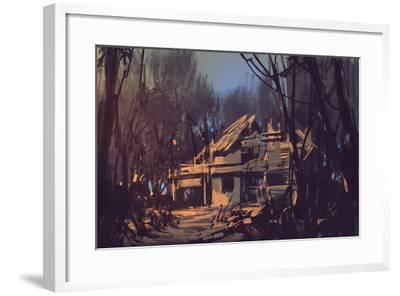 Landscape Digital Painting of Ruined House in the Forest-Tithi Luadthong-Framed Art Print