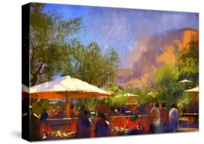 People Walking in the Park,Digital Painting,Illustration-Tithi Luadthong-Stretched Canvas Print