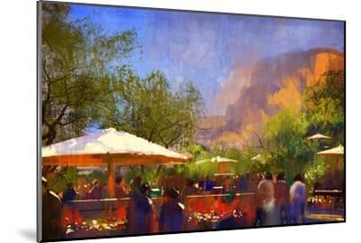 People Walking in the Park,Digital Painting,Illustration-Tithi Luadthong-Mounted Art Print