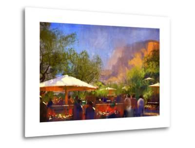 People Walking in the Park,Digital Painting,Illustration-Tithi Luadthong-Metal Print