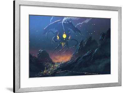 Sci-Fi Scene of the Alien Ship Invading Night City,Illustration Painting-Tithi Luadthong-Framed Art Print